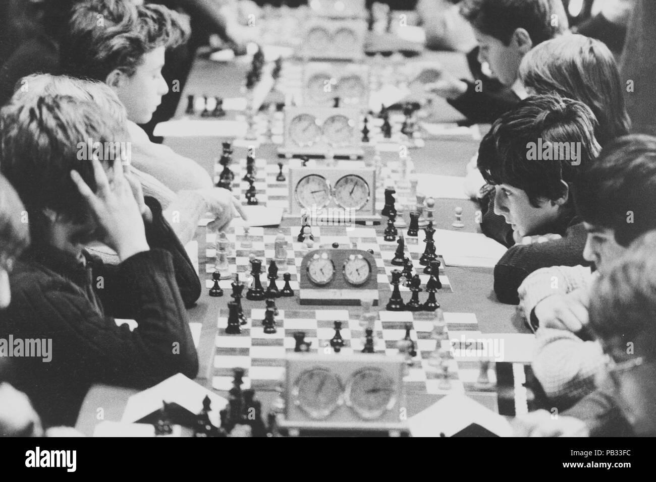 italy, milan, chess tournament for boys, 1973 - Stock Image