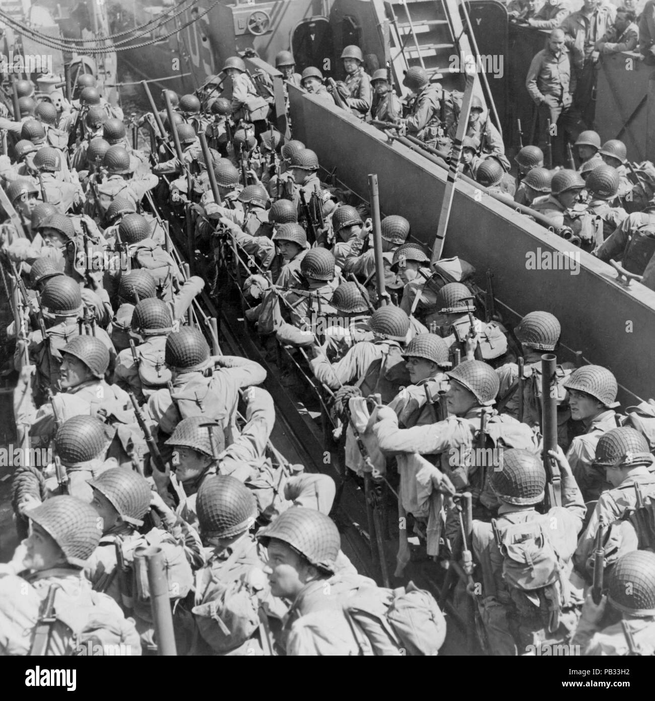World War II, American soldiers ready to land in Normandy - Stock Image