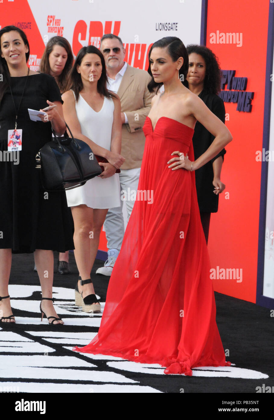 Los Angeles, California, USA. 25th July, 2018. Actress Mila Kunis attends the World Premiere of Lionsgate's' 'The Spy Who Dumped Me' on July 25, 2018 at Fox Village Theatre in Los Angeles, California. Photo by Barry King/Alamy Live News - Stock Image