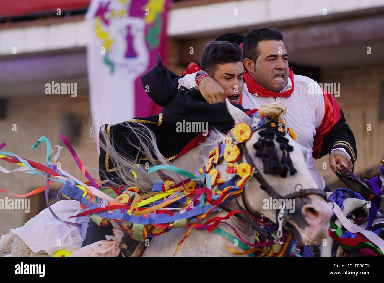 Carpio Tajo Toledo Spain 25th July 2018 Galloping Horse Riders