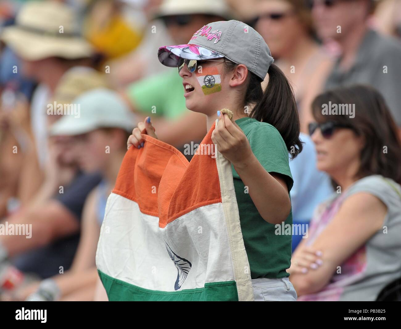 5ff5a6b6ec8e London, UK. 26th July, 2018. An India supporter with facepaint and a