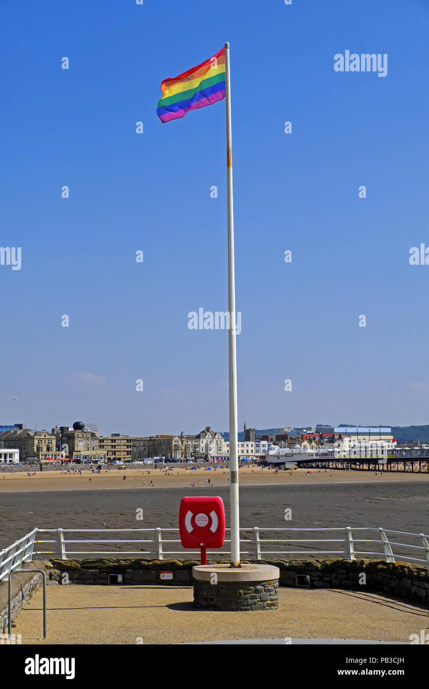 Weston-super-Mare, UK. 26th July, 2018. The Pride flag flies over Knightstone Island ahead of the annual Weston-super-Mare Pride event. This year's event takes place in Grove Park in the town centre on 28th and 29th July. Keith Ramsey/Alamy Live News Stock Photo
