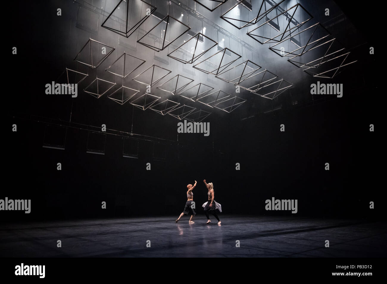 London, UK. 26th July 2018. 'Autobiography' contemporary dance performance by Company Wayne McGregor returns to Sadler's Wells theatre. McGregor's choreography presents and abstract meditation on aspects of self, life, writing and remembered pasts and speculative futures. Credit: Guy Corbishley/Alamy Live News - Stock Image