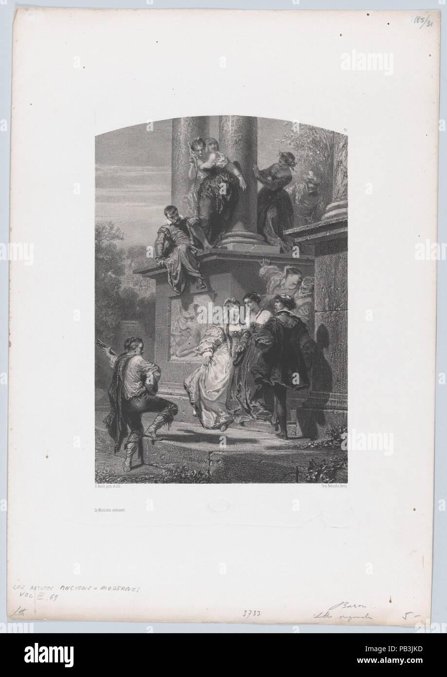 The Roaming Musician. Artist: Henri-Charles-Antoine Baron (French, Besançon 1816-1885 Geneva). Dimensions: Sheet: 17 9/16 × 12 3/8 in. (44.6 × 31.5 cm)  Image: 10 9/16 × 7 5/16 in. (26.8 × 18.5 cm). Printer: Bertauts. Series/Portfolio: Les Artistes Anciens et Modernes. Date: 1853. Museum: Metropolitan Museum of Art, New York, USA. - Stock Image