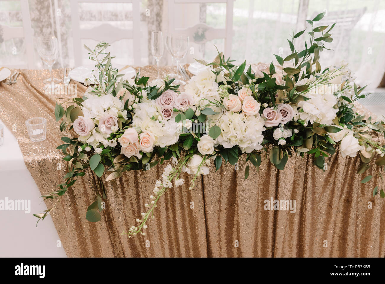 Beautiful Pink And Lilac Roses And White Hydrangea On A Wedding