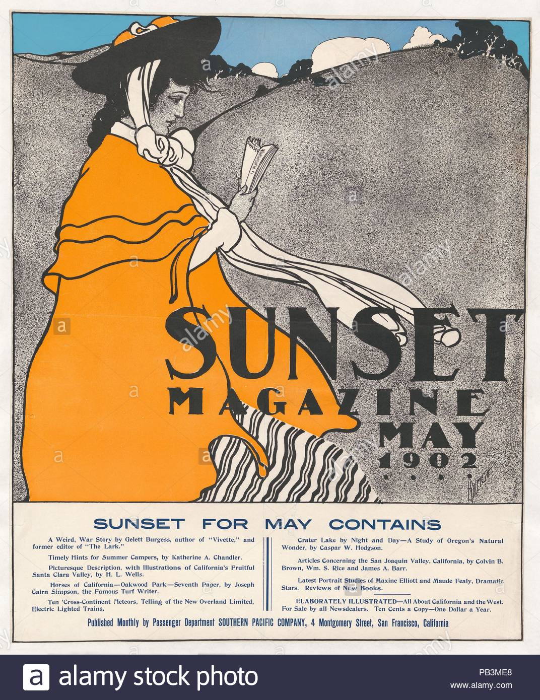 Sunset Magazine: May. Artist: Henry Patrick Raleigh (American, Portland, Oregon 1880-1944 New York). Dimensions: Sheet: 26 1/4 × 21 1/2 in. (66.7 × 54.6 cm). Date: 1902. Museum: Metropolitan Museum of Art, New York, USA. - Stock Image