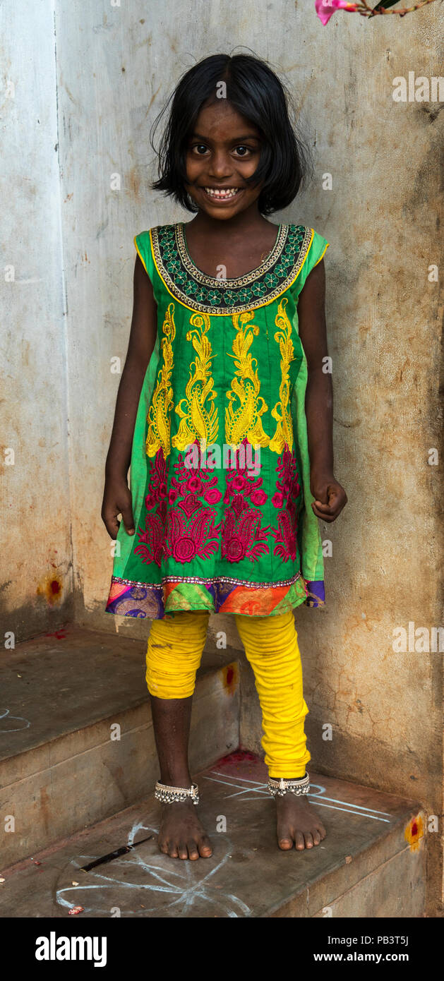 A girl from a small village outside Pondicherry - Stock Image