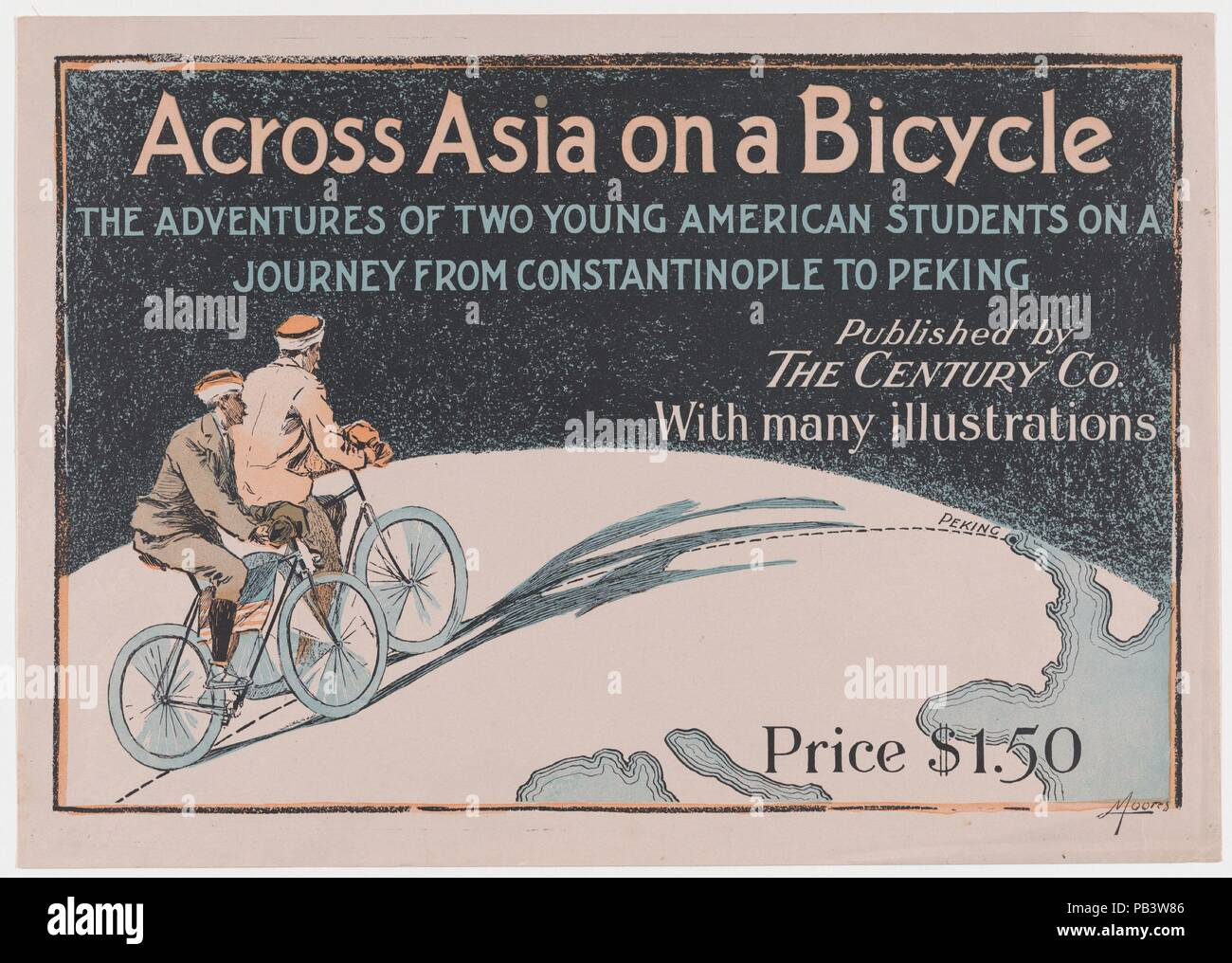 Across Asia on a Bicycle: The Adventures of Two Young American Students on a Journey From Constantinople to Peking. Artist: Albert J. Moores (American, active 1890s). Dimensions: Sheet: 12 in. × 16 15/16 in. (30.5 × 43.1 cm)  Image: 10 11/16 × 15 15/16 in. (27.2 × 40.5 cm). Publisher: The Century Company. Date: 1894. Museum: Metropolitan Museum of Art, New York, USA. - Stock Image
