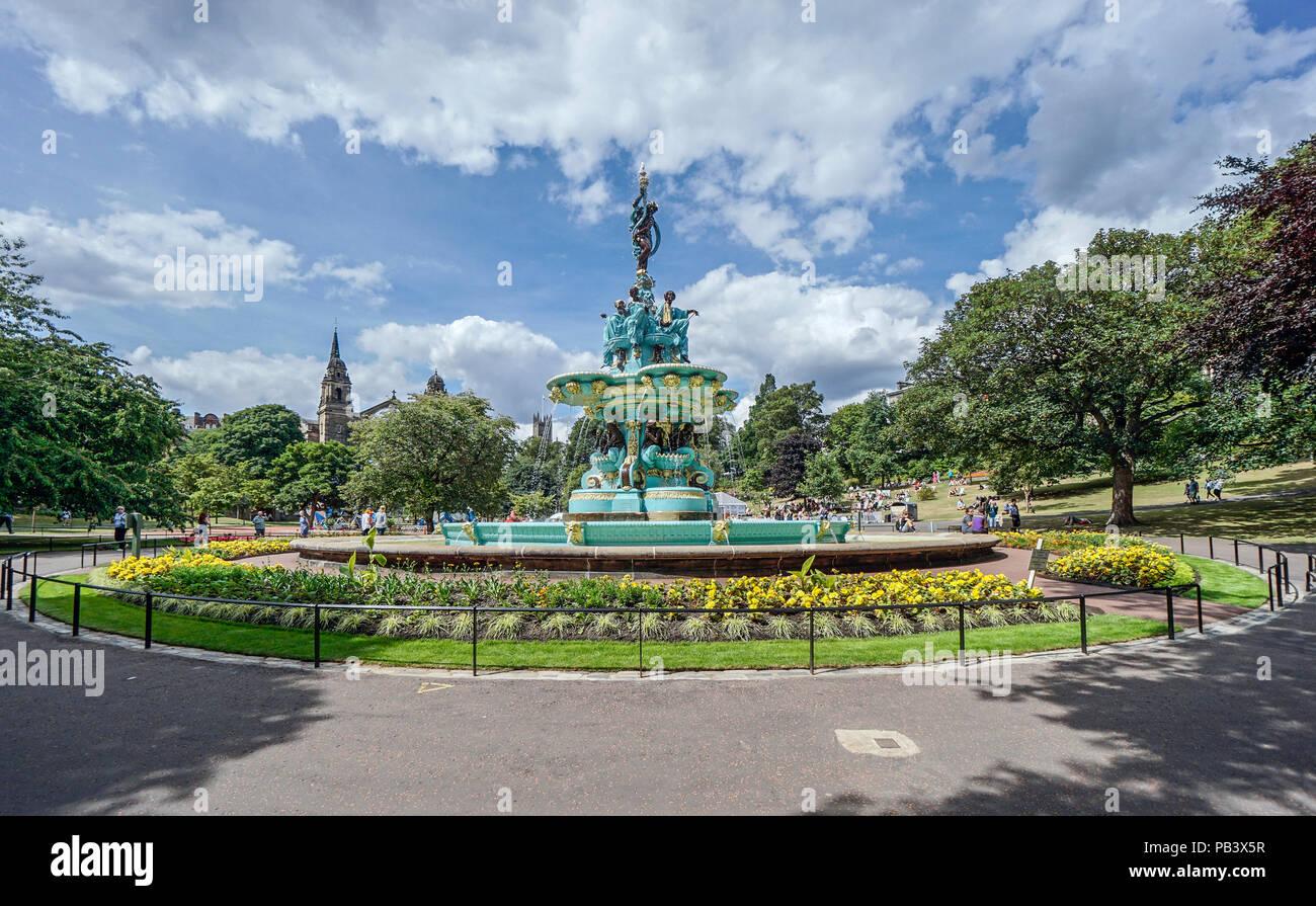 The restored Ross Fountain in West Princes Street Gardens Edinburgh Scotland - Stock Image