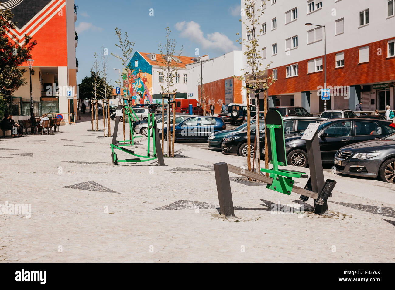 Portugal, Lisbon, 01 May 2018: Street sports exercise machines for exercising on a city street. - Stock Image