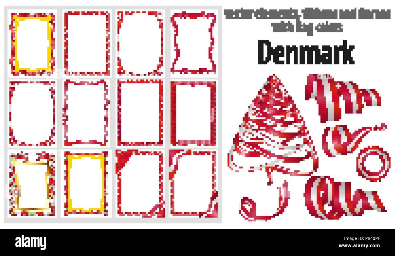 vector elements ribbons and frames with flag colors denmark