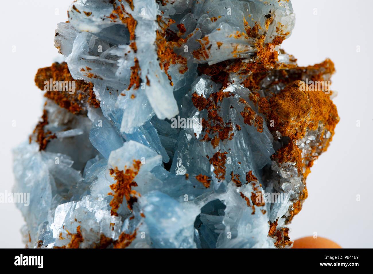 Blue barite mineral specimen - Stock Image