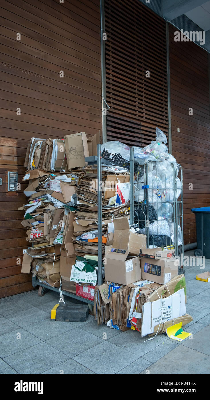 Bristol UK.  Cardboard boxes gathered together and awaiting recyling. - Stock Image