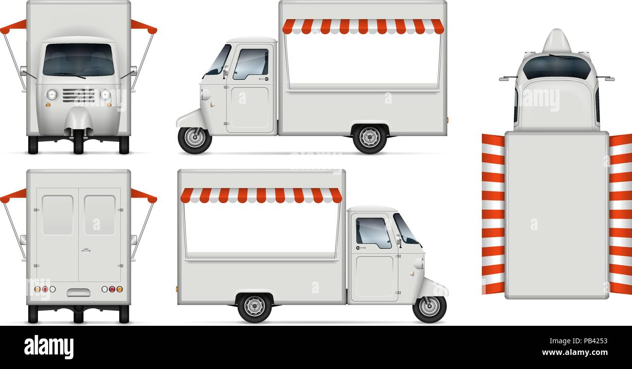 food truck vector mockup isolated template of delivery tricycle on