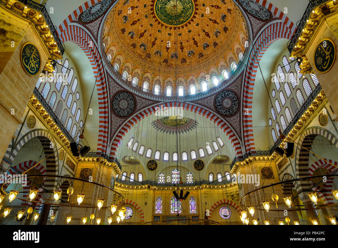 Ceiling of prayer hall, Suleymaniye Mosque, Istanbul, Turkey - Stock Image