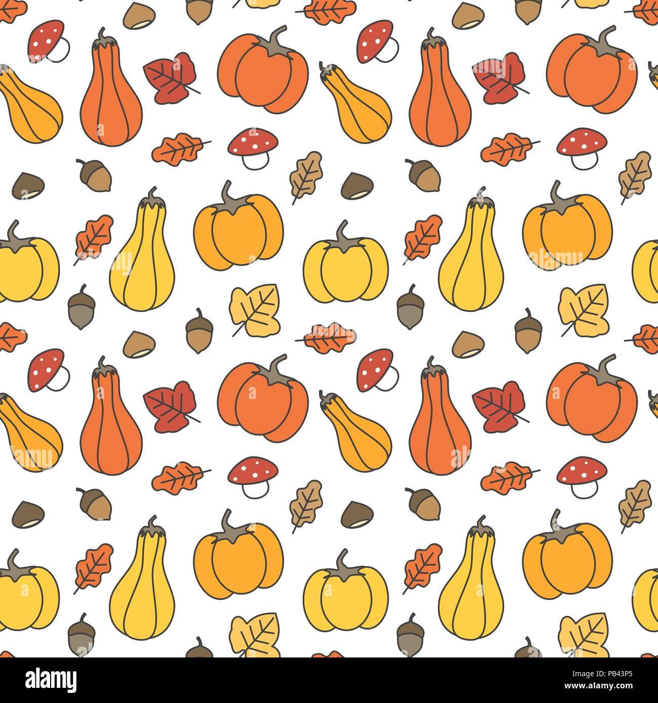 Cute Fall Autumn Seamless Vector Pattern Background