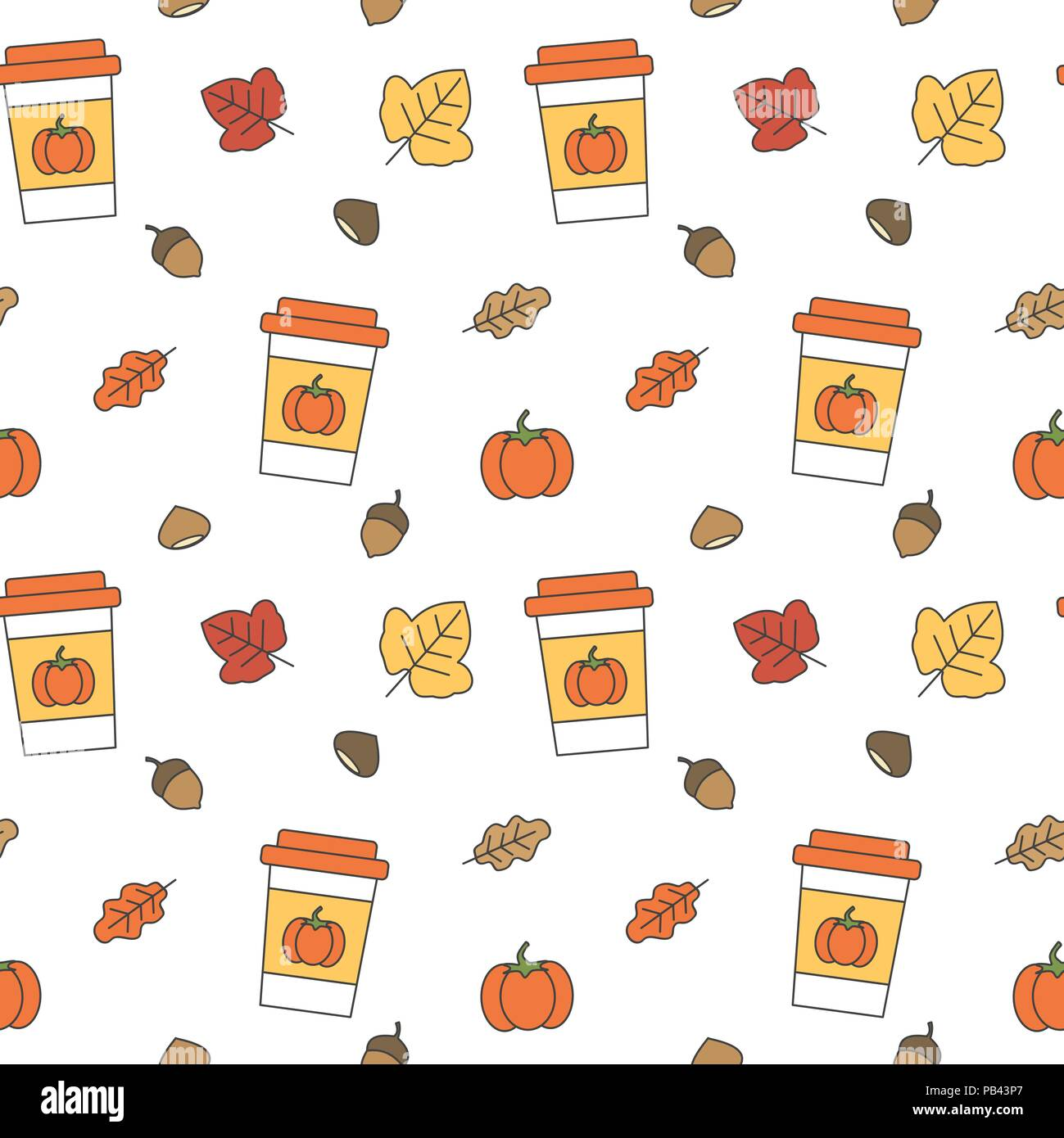 cute fall autumn collection seamless vector pattern background