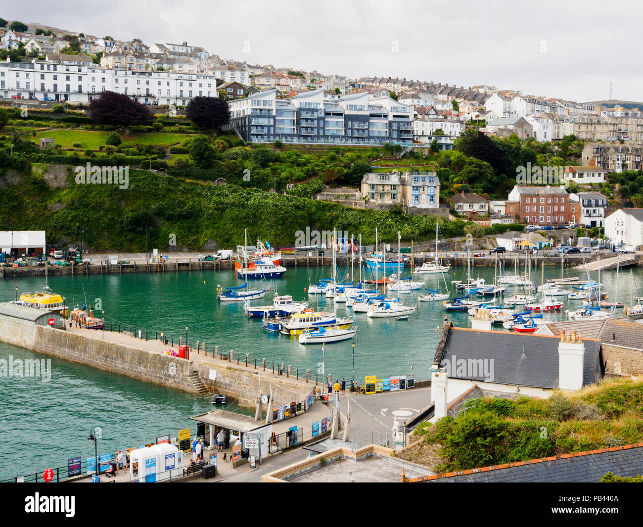 Pleasure and fishing boats in the harbour at Ilfracombe, North Devon, UK Stock Photo