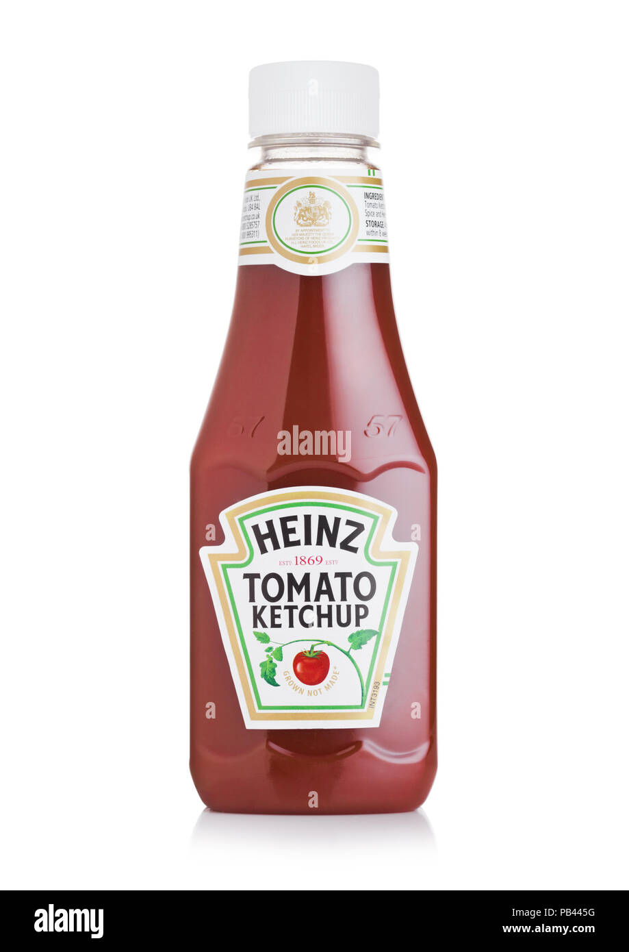 LONDON, UK - JULY 28, 2018: A bottle of Heinz Ketchup on white background. Stock Photo