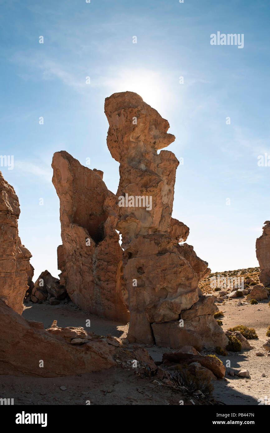 Tall group of rocks shaped by wind erosion. Valle de Rocas (Valley of the Rocks). Bolivia, South America. - Stock Image