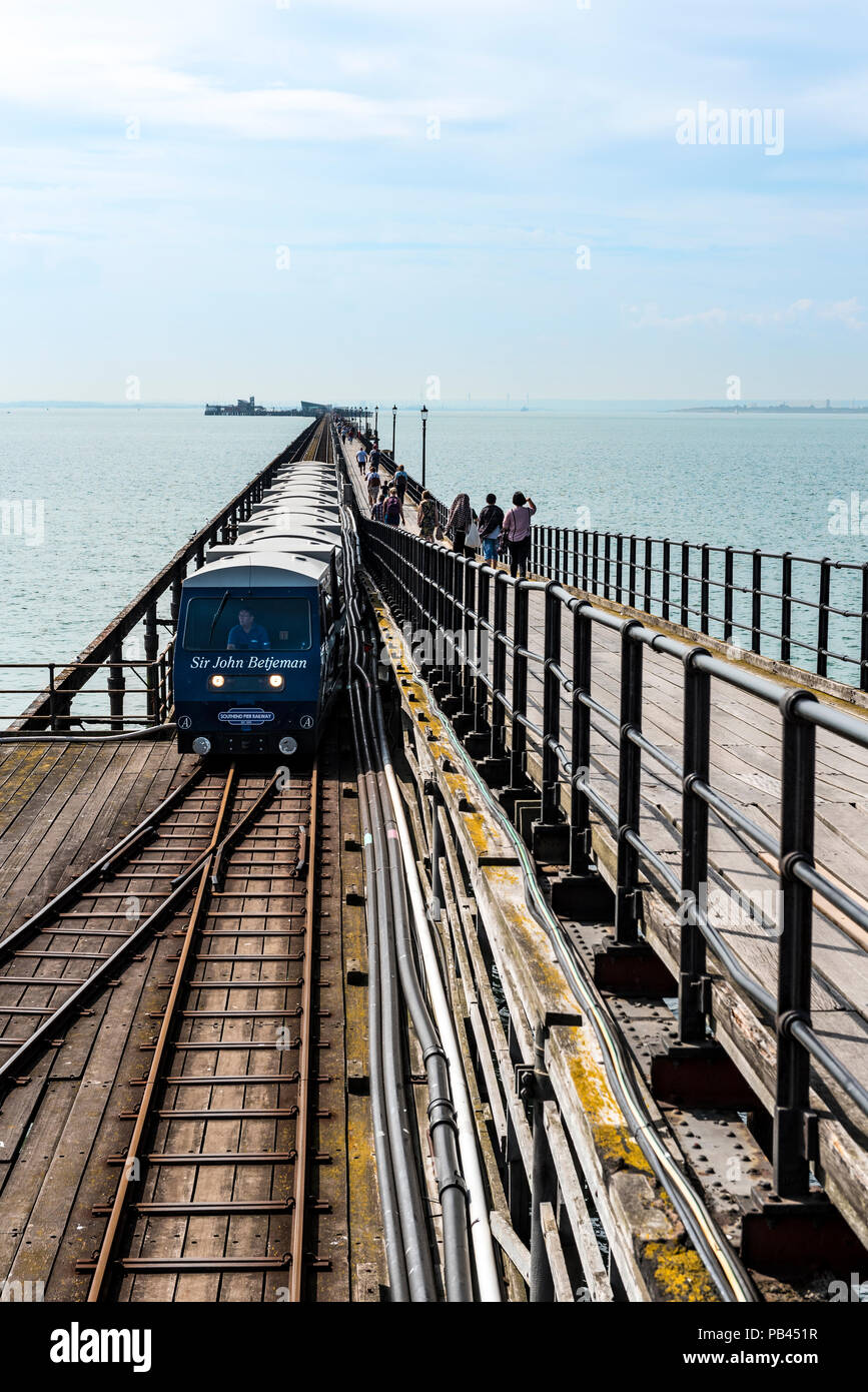 Pier railway train being pulled by the engine Sir John Betjeman, Southend on Sea. - Stock Image