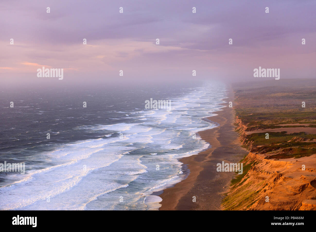 Sunset on the 11 mile long point Reyes Beach in the Point Reyes National Seashore 50 miles north of San Francisco, California. - Stock Image