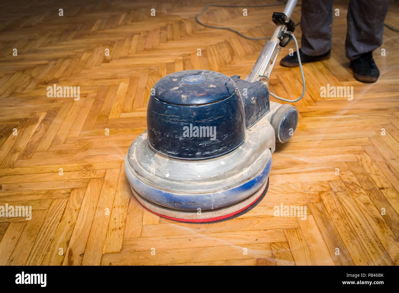Home renovation, parquet sanding, polishin Stock Photo