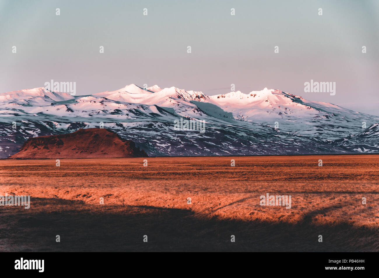 Street Highway Ring road No.1 in Iceland, with view towards mountain. Southern side if the country. - Stock Image