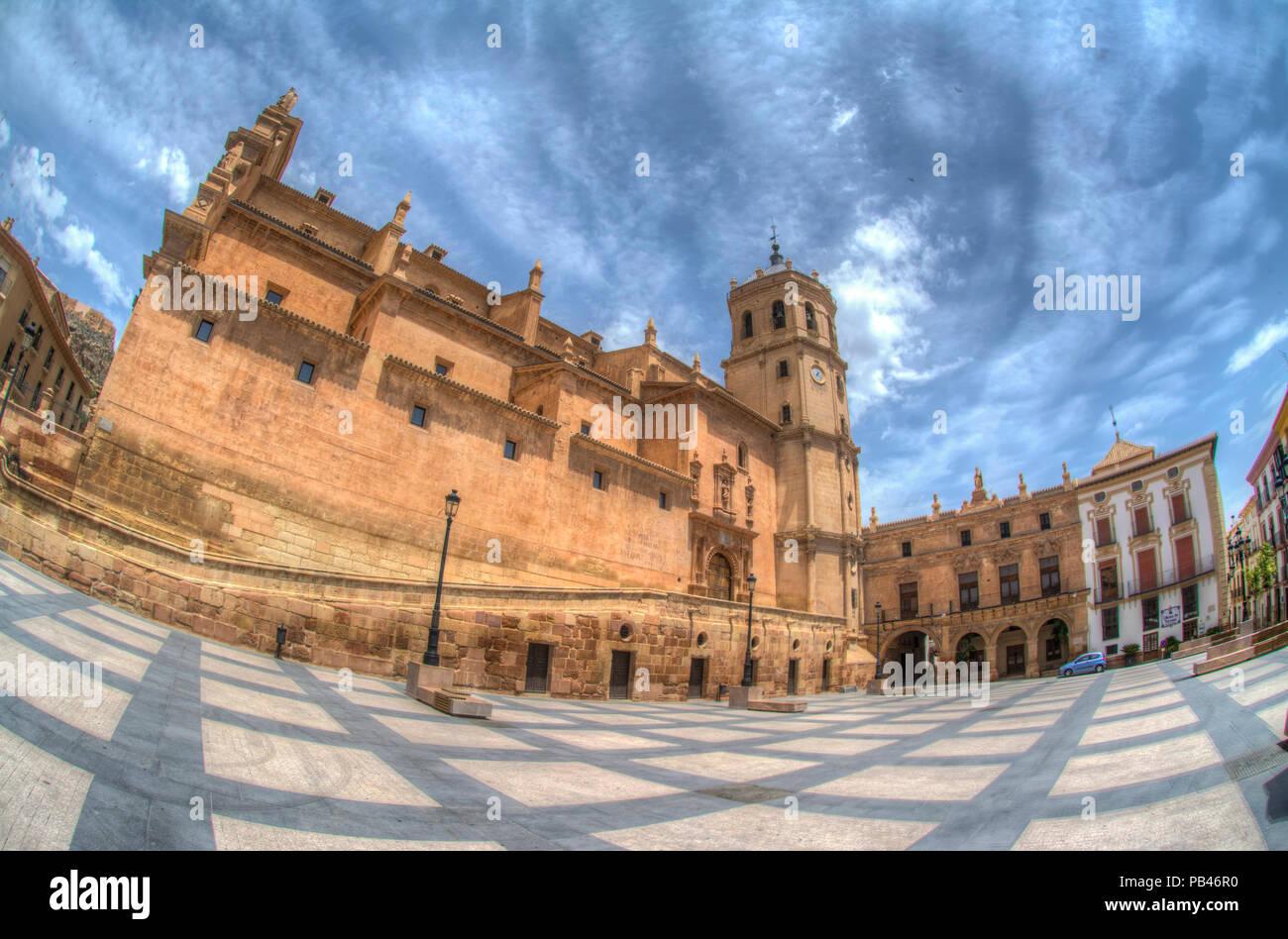 HDR image of the colegiata de San Patricio church in the plaza de espana in Lorca Murcia Spain - Stock Image