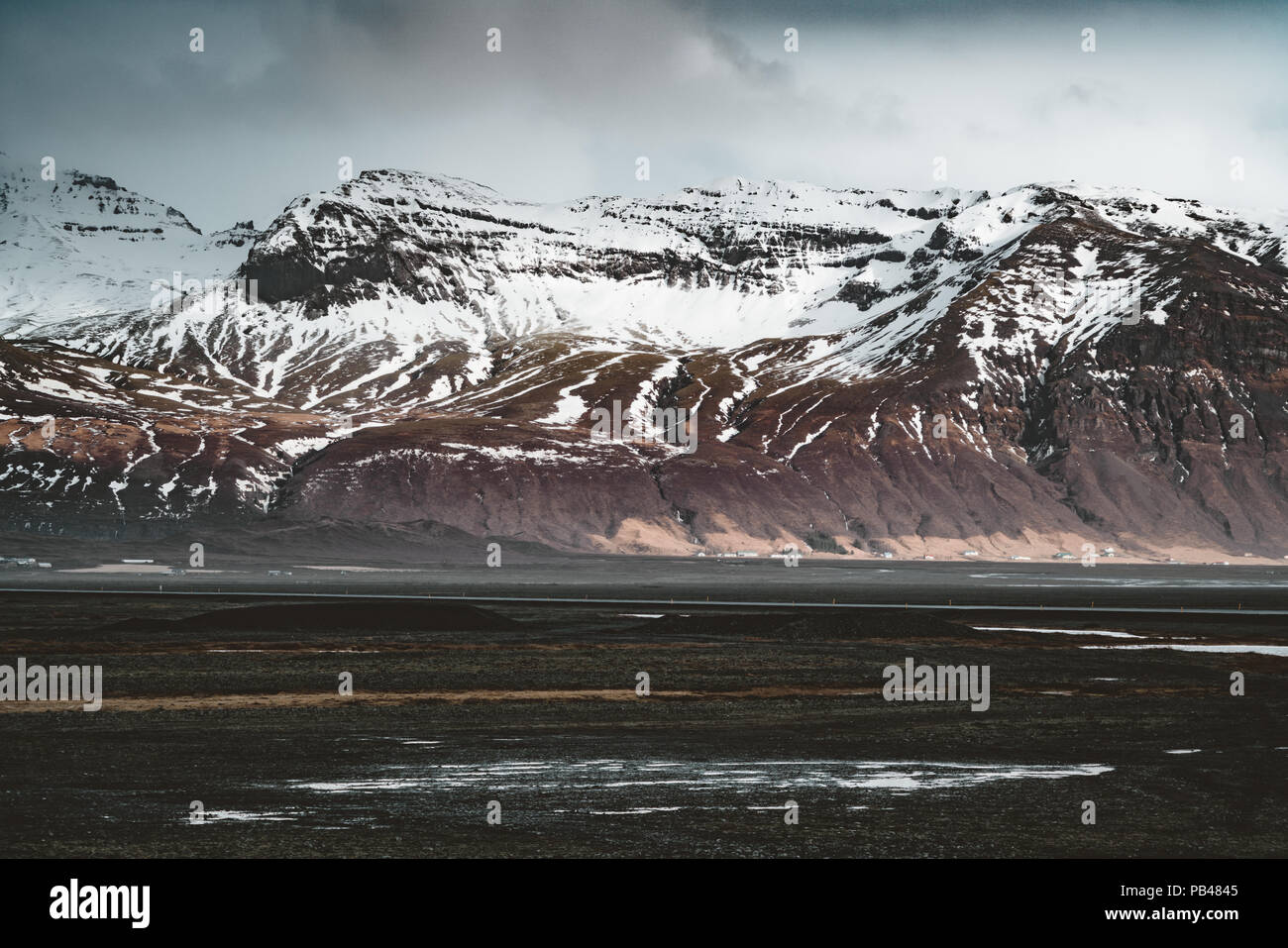 Street Highway Ring road No.1 in Iceland, with view towards mountain. Southern side if the country. Stock Photo