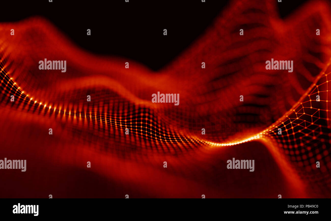 Music background. Big Data Particle Flow Visualisation. Science infographic futuristic illustration. Sound wave. Sound visualization - Stock Image