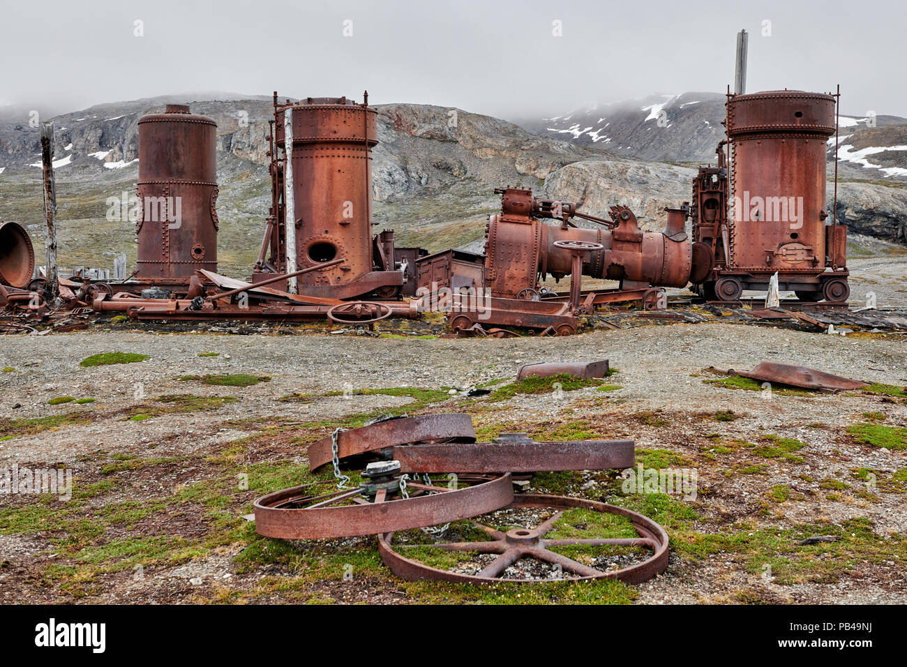 remains of New London marble quarry, Camp Mansfield, Ny-Ålesund, Kongsfjord, Svalbard or Spitsbergen, Europe - Stock Image
