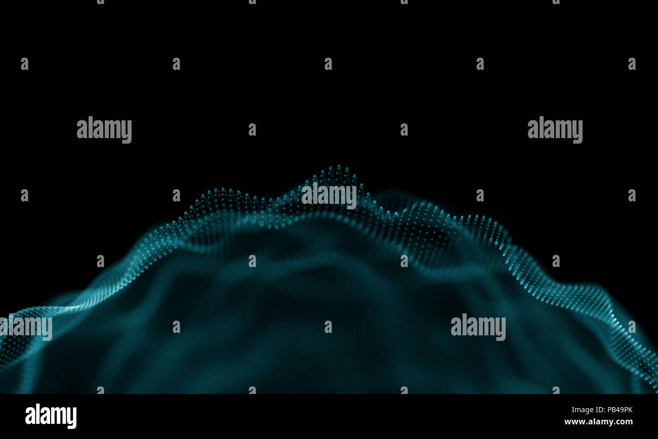 Abstract Blue Geometrical Background . Futuristic technology style. Neon Sign . Futuristic Technology HUD Element . Elegant Abstract background . Big data visualization . - Stock Image