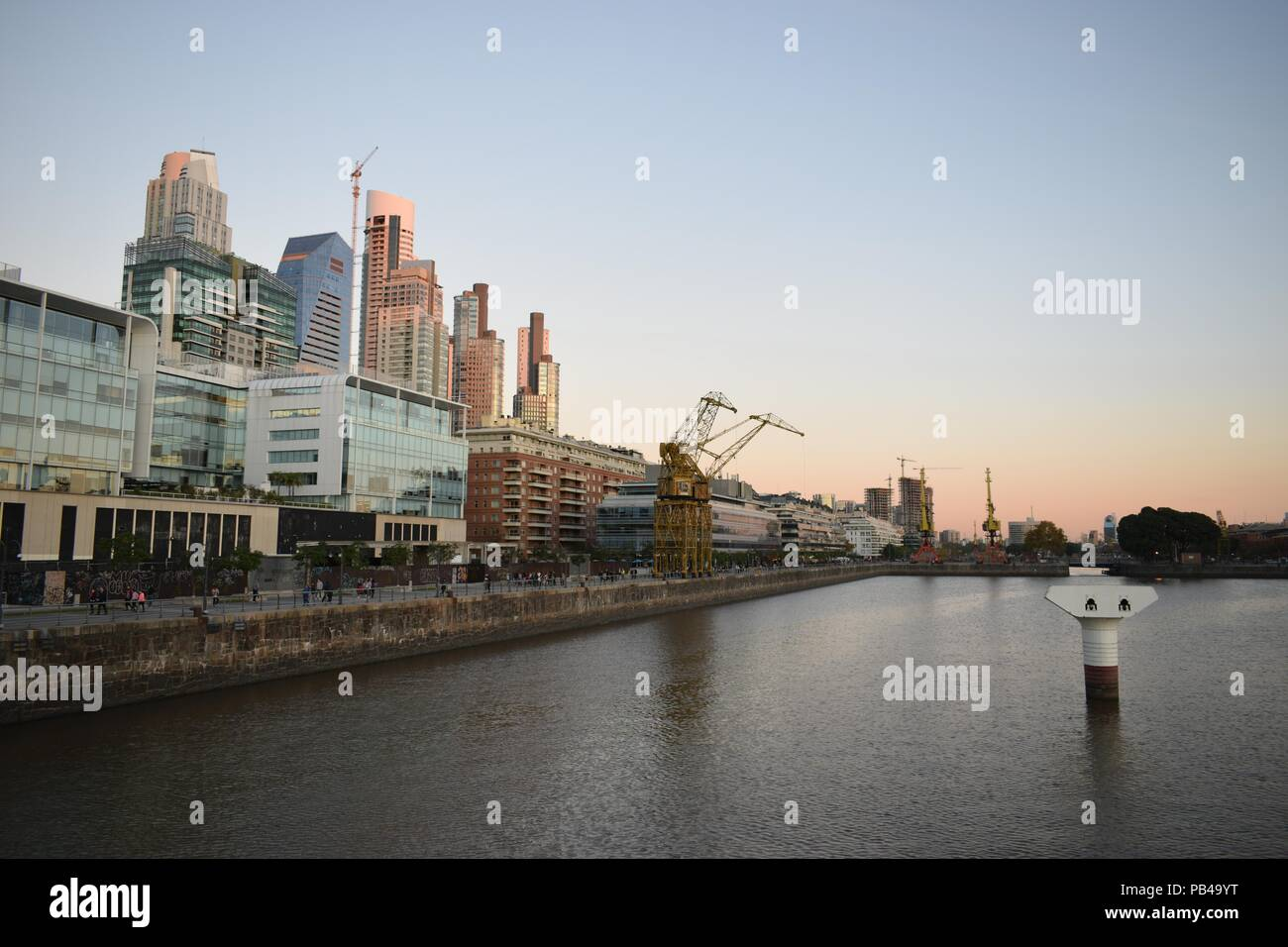 sunset at skyline of Puerto Madero, Buenos Aires, Argentina - Stock Image