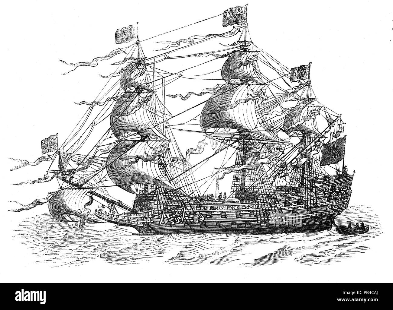 Sovereign of the Seas: Galleons were large, multi-decked sailing ships first used by the Spanish as armed cargo carriers and later adopted by other European states from the 16th to 18th centuries during the age of sail and were the principal fleet units drafted for use as warships until the Anglo-Dutch Wars of the mid-1600s. Galleons generally carried three or more masts with a lateen fore-and-aft rig on the rear masts, were carvel built with a prominent squared off raised stern, and used square-rigged sail plans on their fore-mast and main-masts. - Stock Image