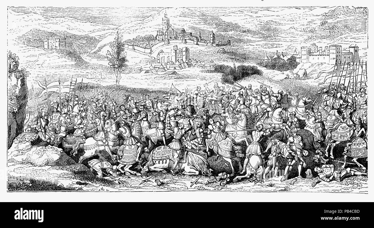The Battle of the Spurs, or Battle of Guinegate, took place on 16 August 1513. Henry VIII had joined in the Holy League in 1511 with Venice and Spain to defend the Papacy from its enemies and France with military force.  As part of the Holy League, during the ongoing Italian Wars, English and Imperial troops under Henry VIII and Maximilian I surprised and routed a body of French cavalry under Jacques de La Palice. Henry and Maximilian were besieging the town of Thérouanne in Artois (now Pas-de-Calais) and after it fell, Henry VIII besieged and took Tournai. - Stock Image