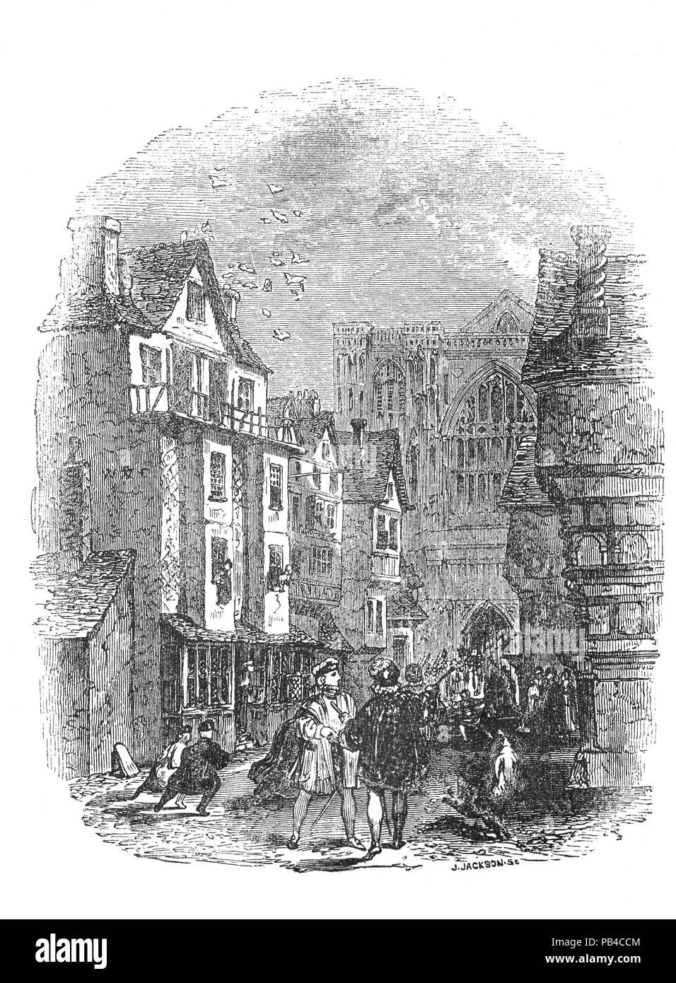 A street scene near Westminster Abbey on the day that Henry VIII's second wife, Anne Boleyn, was crowned queen consort on 1 June 1533 The queen gave birth to a daughter slightly prematurely on 7 September 1533. The child was christened Elizabeth, in honour of Henry's mother, Elizabeth of York. - Stock Image