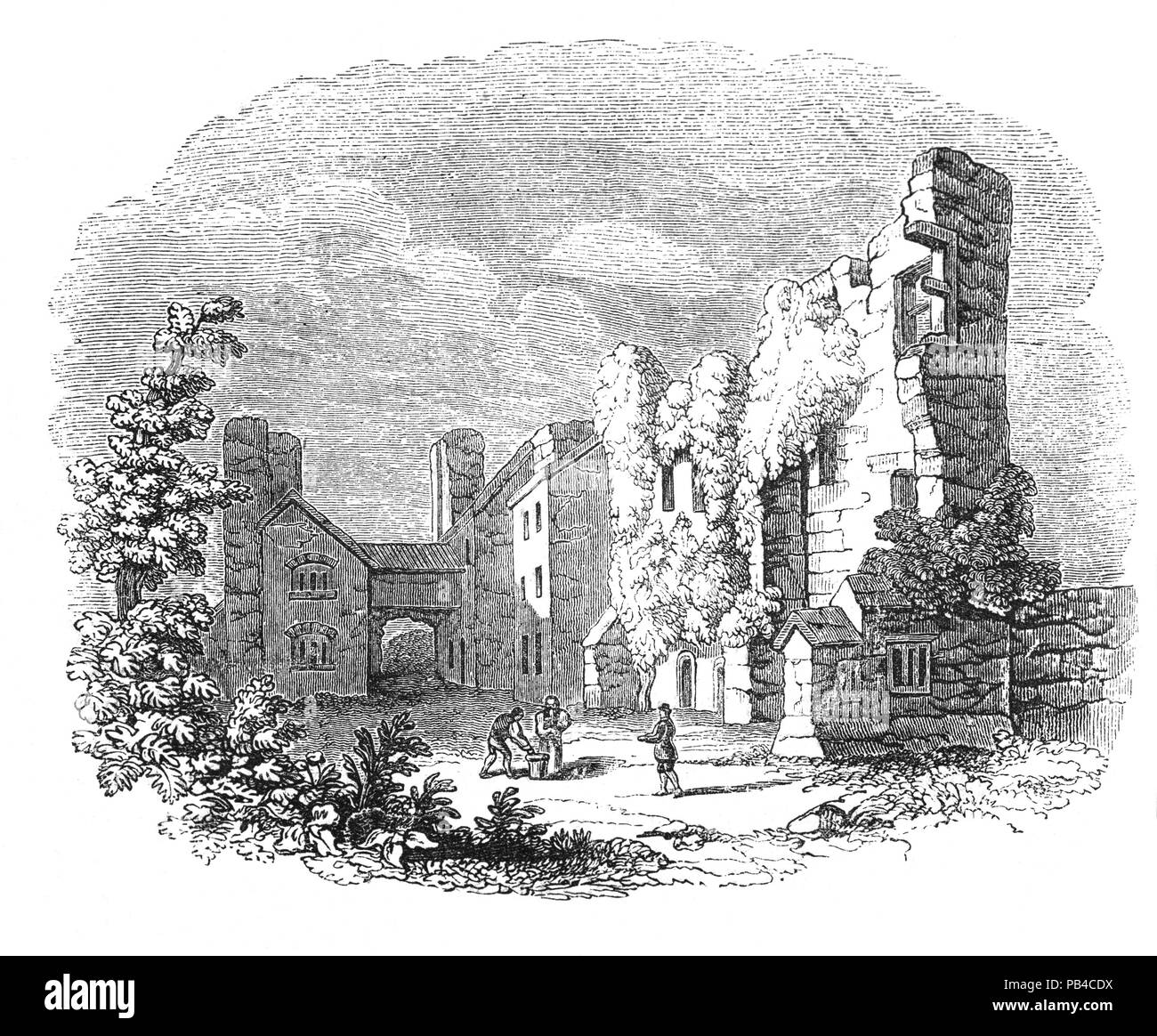 The ruins of 12th Century Leicester Abbey where Cardinal Wolsey died on 29 November 1530. In spite of having many enemies, Cardinal Wolsey retained Henry VIII's confidence until Henry decided to seek an annulment of his marriage to Catherine of Aragon, so that he could marry Anne Boleyn. Wolsey's failure to secure the annulment directly caused his downfall and arrest. In 1529 he was accused of treason and ordered to London but fell ill on the journey, and died at Leicester. - Stock Image