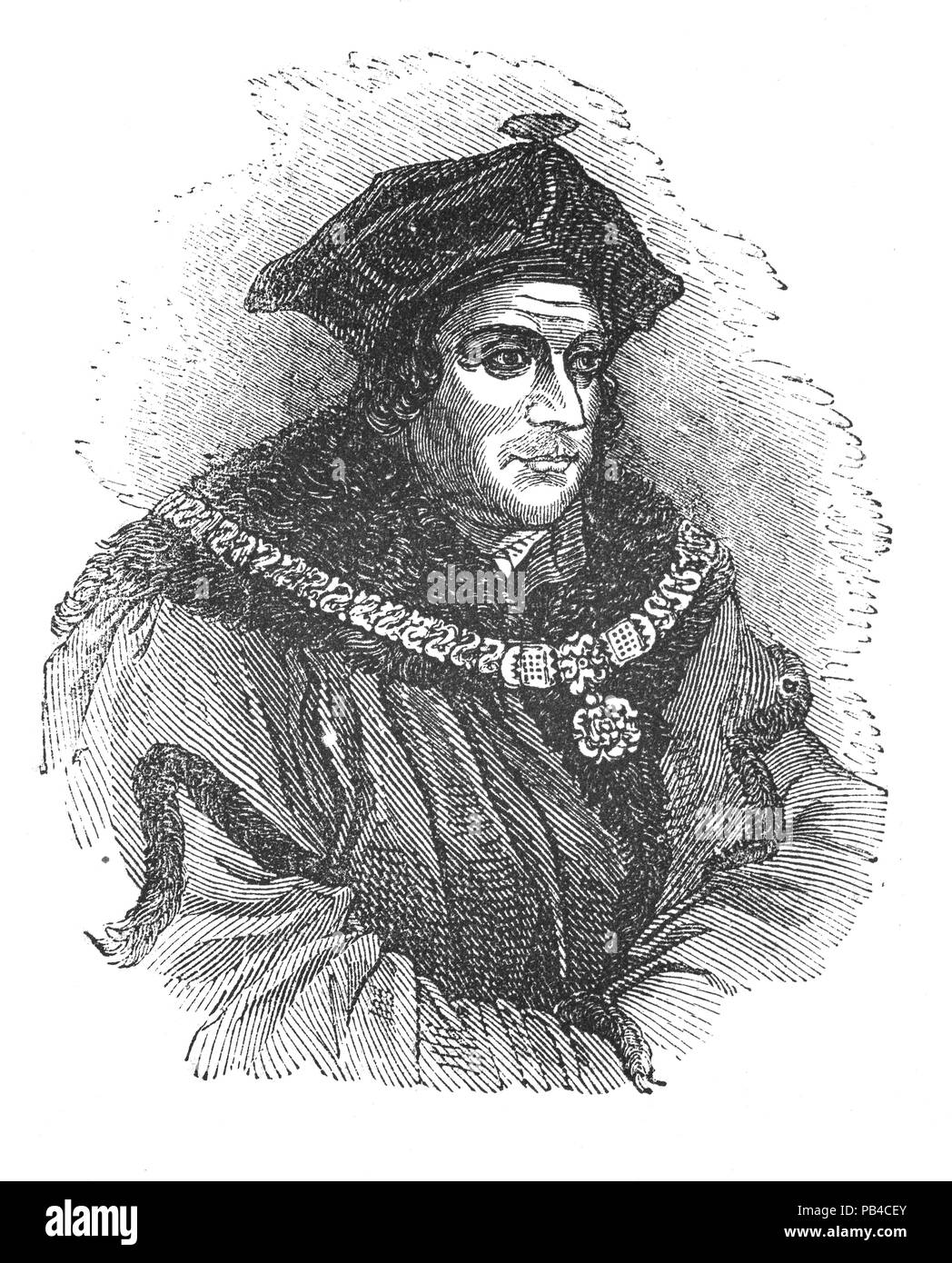 Portrait of Sir Thomas More (1478-1535), venerated in the Catholic Church as Saint Thomas More,was an English lawyer, social philosopher, author, statesman, and noted Renaissance humanist. He was also councillor to Henry VIII, and Lord High Chancellor of England from 1529 to 1532. He opposed the Protestant Reformation and the king's separation from the Catholic Church; and refused to acknowledge Henry as Supreme Head of the Church of England and the annulment of his marriage to Catherine of Aragon. After refusing to take the Oath of Supremacy, he was convicted of treason and beheaded. - Stock Image
