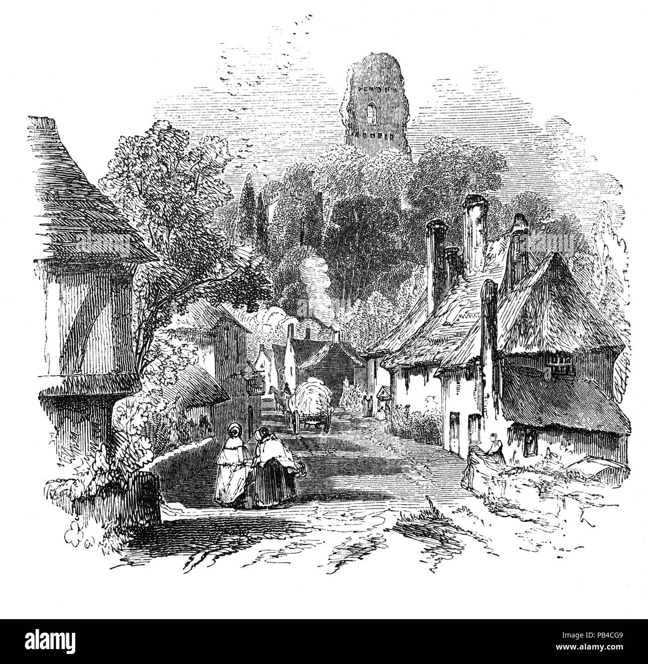The ruins of Bramber Castle in the village of Bramber, West Sussex, England overlooking the River Adur. It was constructedabout 1070, along with the Norman church, on a natural mound. Except for a period of confiscation during the reign of King John, the castle remained in the ownership of the de Braose family until the male line died out in 1326. Little is known of Bramber Castle's history. Records dating from the Civil War mention a 'skirmish' fought in the village in about 1642. Stock Photo