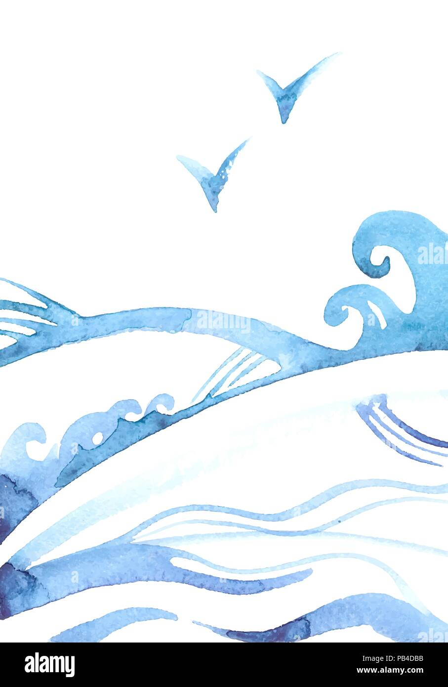 Abstract Ocean Background With Waves And Gulls Vector