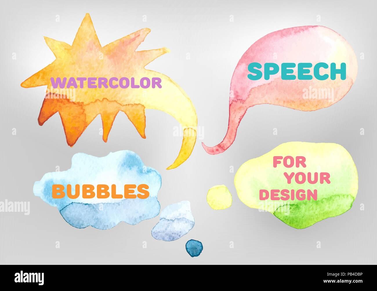 Vector Set Of Watercolor Speech Bubbles - Stock Image