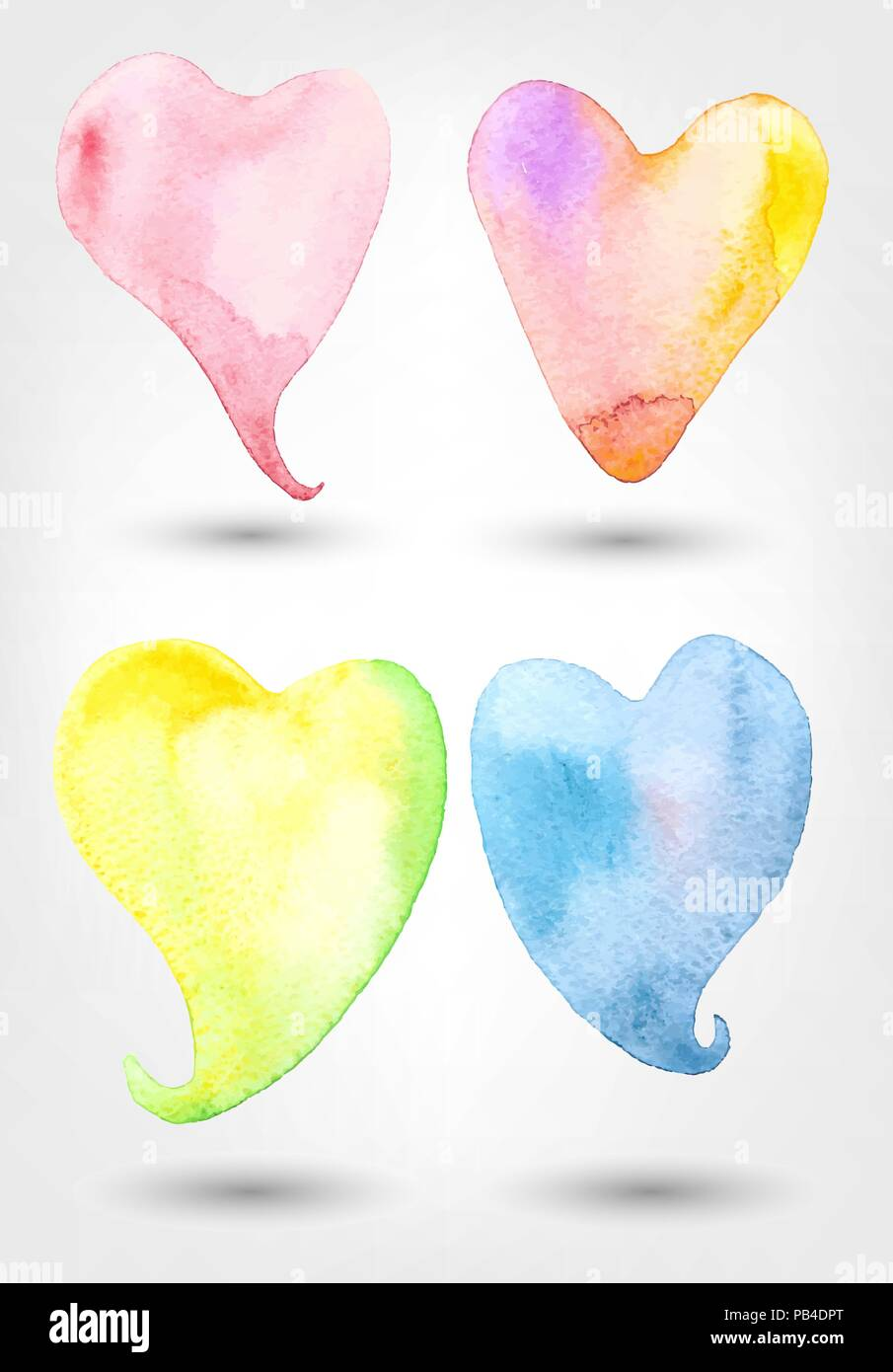 Vector Set Of Watercolor Heart Shapes - Stock Image