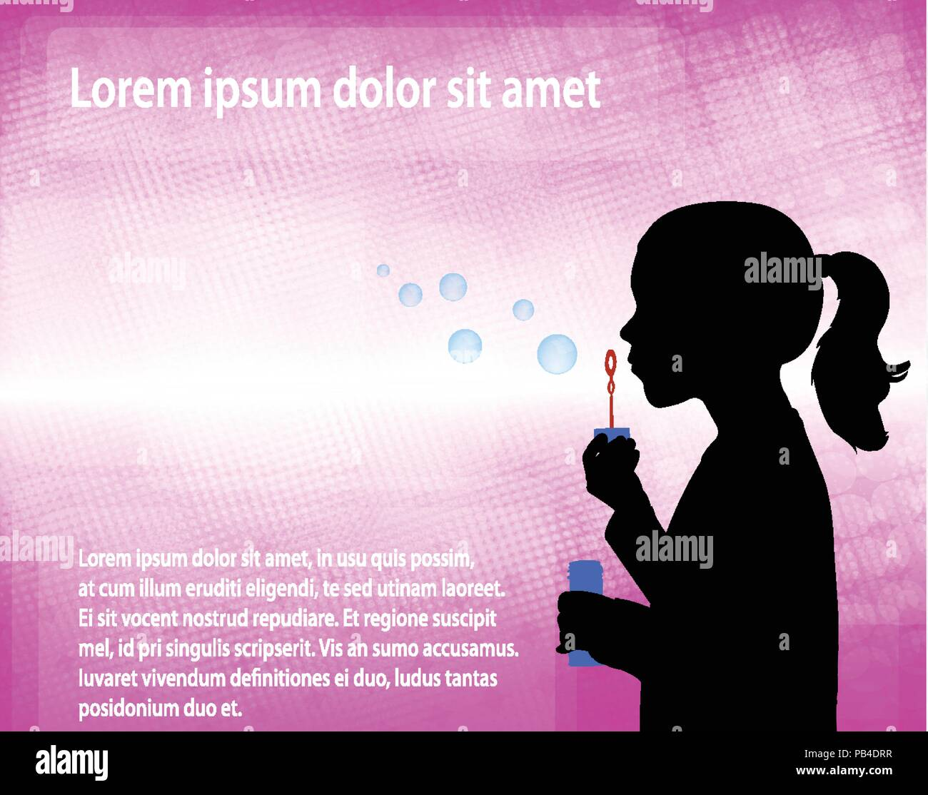 little girl blowing soap bubbles over abstract pink background - vector - Stock Vector