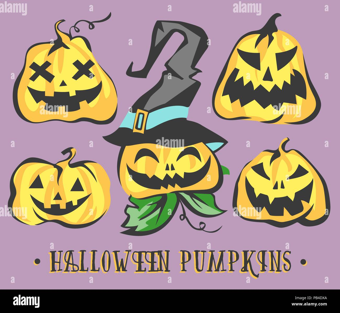 Halloween Pumpkins Set. Vector Objects - Stock Vector