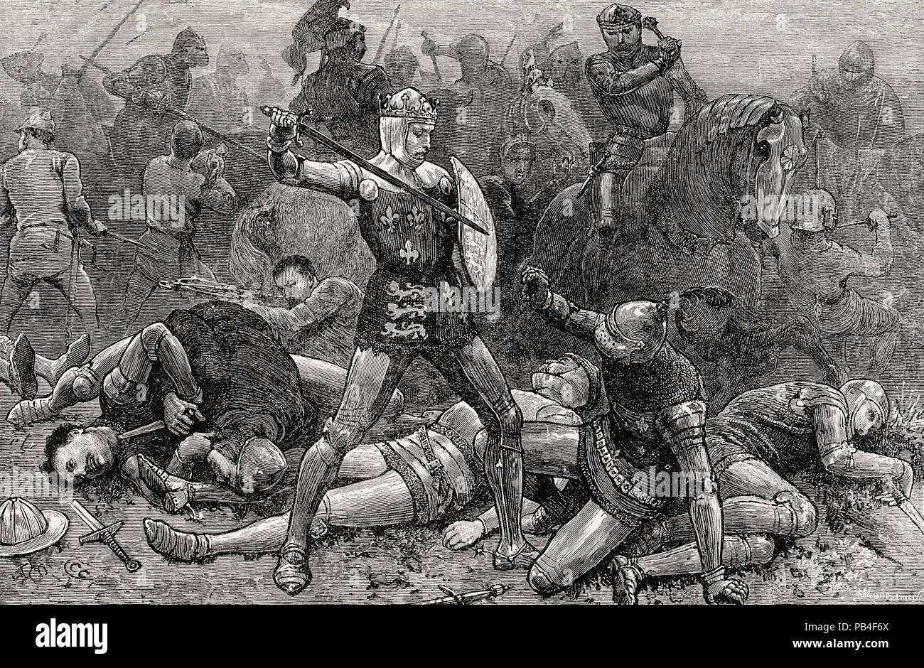 King Henry V and the Duke D'Alençon at the Battle of Agincourt on 25th October 1415, Hundred Years War, From British Battles on Land and Sea, by James - Stock Image