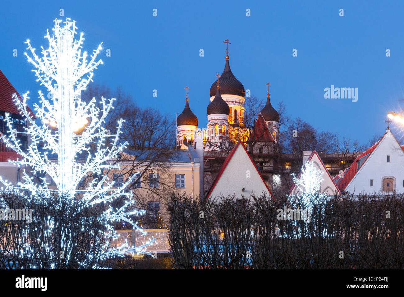 Night street in the Old Town of Tallinn, Estonia Stock Photo