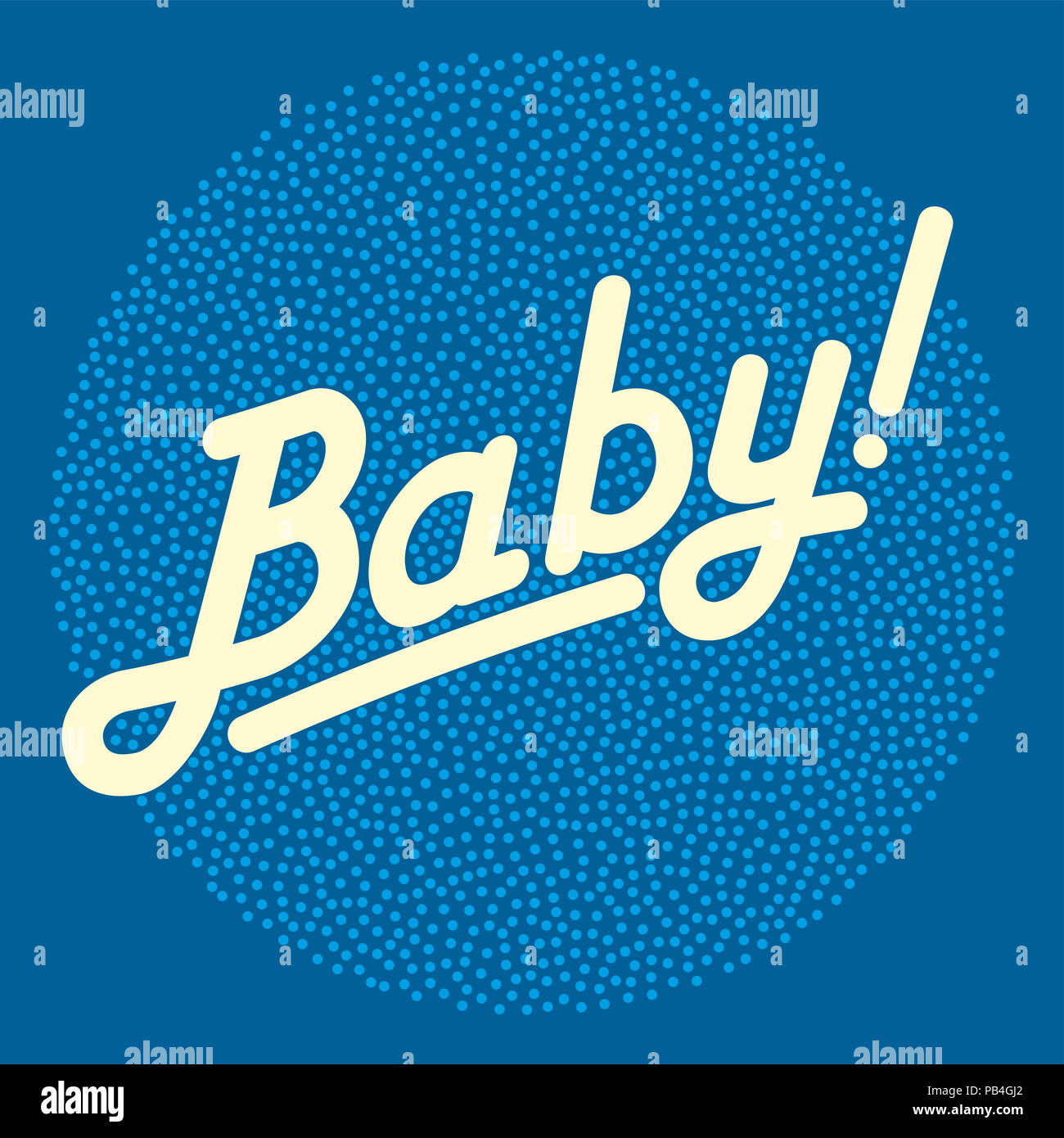 Cursive lettering of the word BABY in light yellow color, over bright stippled circle area, made of randomly placed small dots. Isolated illustration. - Stock Image