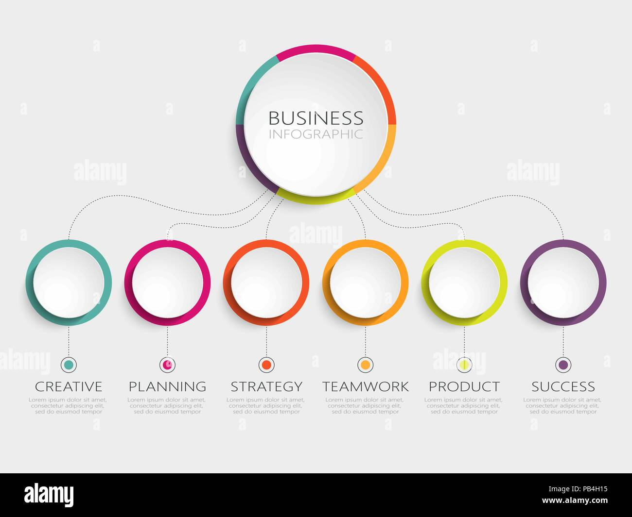 Abstract 3D Infographic Template With 6 Steps For Success Business Circle Options Brochure Diagram Timeline Vector EPS 10