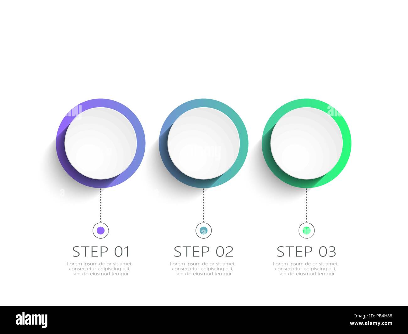 modern 3d infographic template with 3 steps business circle